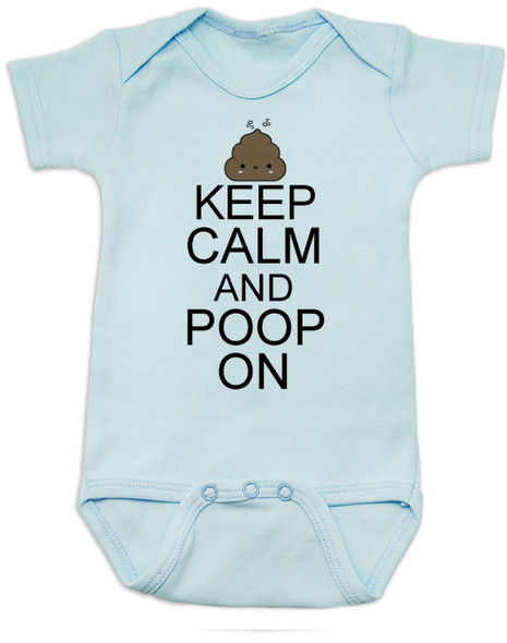 Keep Calm baby Bodysuit, Keep Calm and Poop On baby onsie, funny poop Bodysuit, baby keep calm, blue