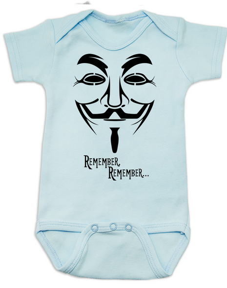 V for Vendetta movie baby Bodysuit, V Remembers, Remember Remember, 5th of November, blue