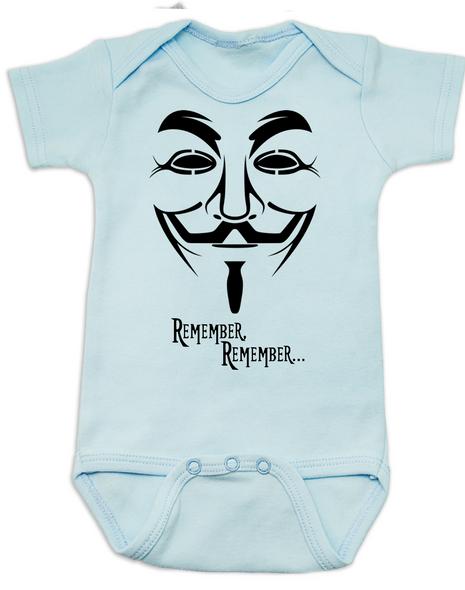 V for Vendetta movie baby Bodysuit, V Remembers, Remember Remember, 5th of November, blue