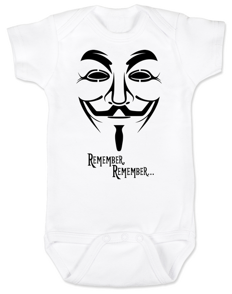 V for Vendetta movie baby Bodysuit, V Remembers, Remember Remember, 5th of November
