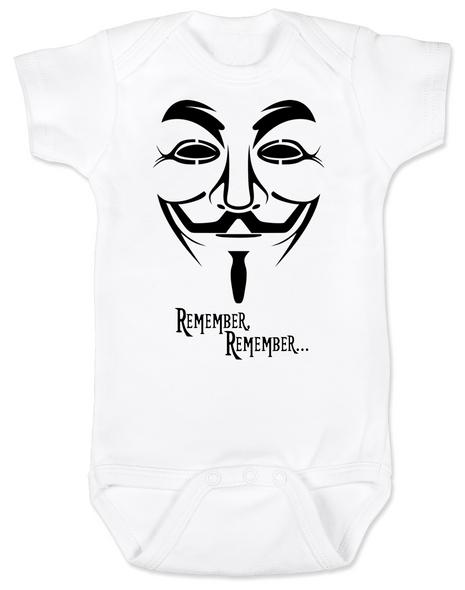 V for Vendetta movie baby Bodysuit, V Remembers, Remember Remember, 5th of November
