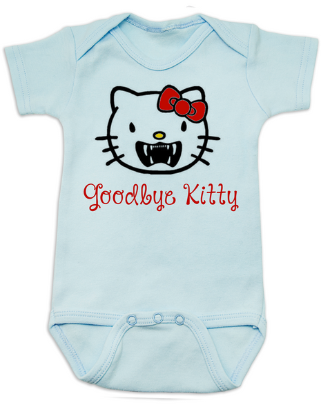 Goodbye Kitty Baby Bodysuit, Hello Kitty Vampire Onsie, Goodbye Kitty baby bodysuit, Cute Halloween Bodysuit, blue
