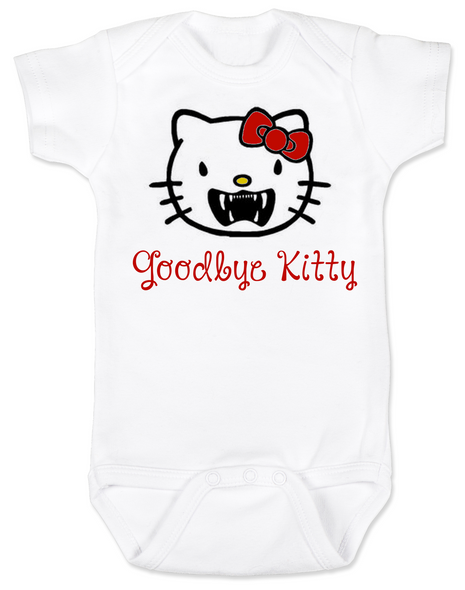 Goodbye Kitty Baby Bodysuit, Hello Kitty Vampire Onsie, Goodbye Kitty baby bodysuit, Cute Halloween Bodysuit