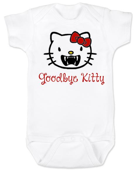 Goodbye Kitty Baby Bodysuit, Hello Kitty Vampire Onsie, Goodbye Kitty baby bodysuit, Cute Halloween Bodysuit