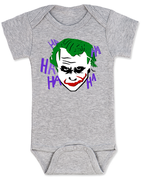 The Joker baby Bodysuit, Joker Halloween baby onsie, grey
