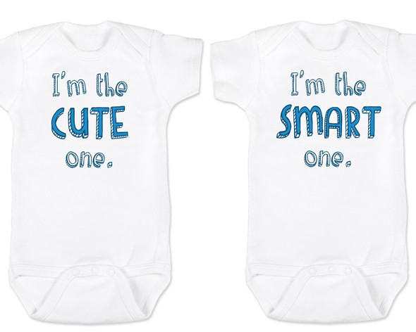 Funny Twin Baby Bodysuit Set, Funny Baby Shower gift for twins, Twin Baby Bodysuits, Cute One, Smart One, matching twin set