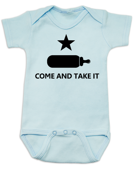 Come and take it Bodysuit, Baby Texas Proud, Southern State Pride Bodysuit, Funny Texas Onsie, redneck baby, born in the south, gun rights, second amendment, Texas revolution, battle of Gonzales, right to bear arms baby Bodysuit, blue