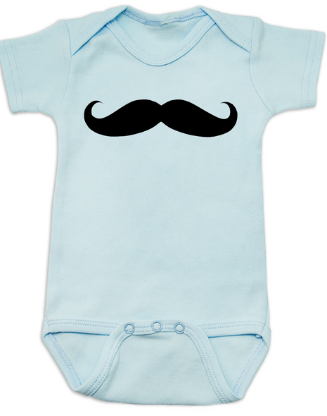 mustache baby Bodysuit, movember onsie, no shave november, I mustache you a question, hipster baby, blue