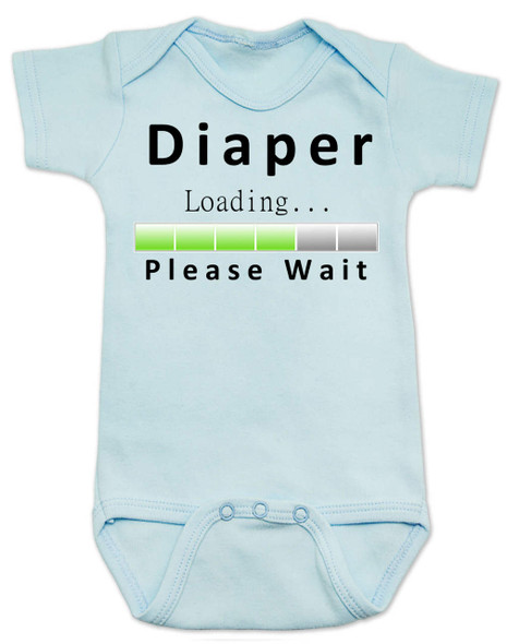 Diaper Loading baby Bodysuit, loading bar baby onsie, funny dirty diaper infant bodysuit, please wait, diaper loading, geeky parent baby gift, blue