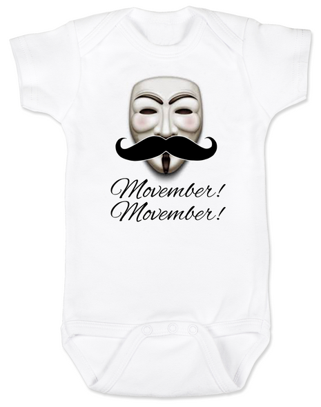 Movember baby Bodysuit, Guy Fawkes mask, V for Vendetta Onsie, No Shave November
