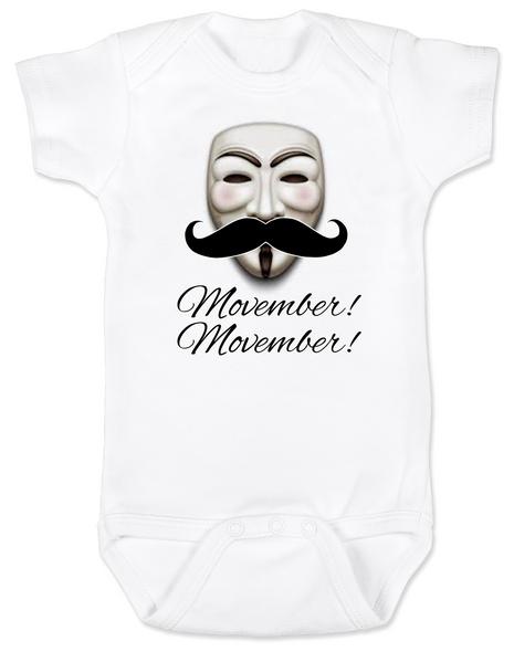 Movember baby Bodysuit, Guy Fawkes mask, V for Vendetta Onsie, No Shave November