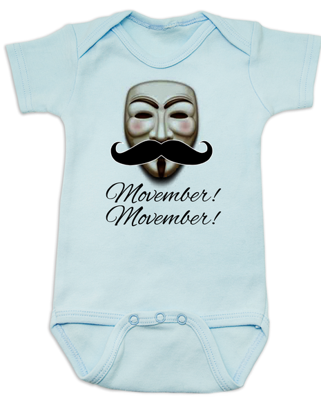 Movember baby Bodysuit, Guy Fawkes mask, V for Vendetta Onsie, No Shave November, blue