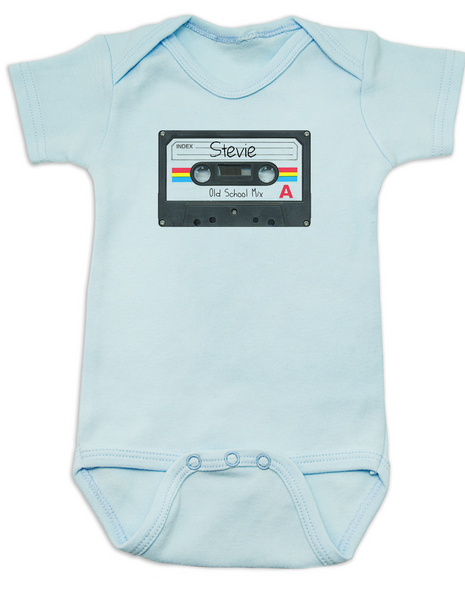 Mix Tape Personalized Bodysuit, tape player, Rock N Roll baby clothes, Personalized cassette tape onsie, retro music, old school music, vintage rock infant bodysuit, blue