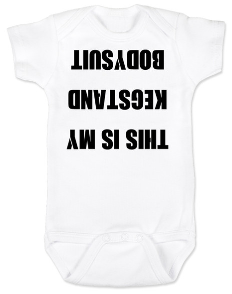 Kegstand Bodysuit, Inappropriate baby clothes, baby shower gag gift, punk rock baby, Rock n Roll Baby bodysuit, Badass baby clothes, rock and roll infant creeper, hardcore baby, hilarious Bodysuit, Keg Stand Bodysuit, white