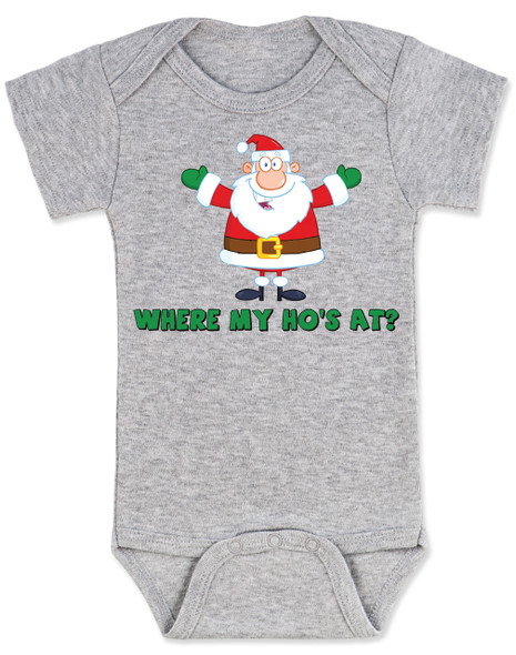 Where My Ho's At Baby Bodysuit, Ho Ho Ho baby Bodysuit, Badass Santa Claus, Offensive Christmas Bodysuit, funny holiday baby Bodysuit, funny christmas baby clothes, grey