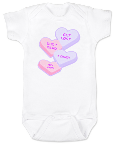 Funny Candy Heart Bodysuit, Valentines Day baby bodysuit, Valentine's Day hearts, Baby valentine creeper, Offensive candy heart baby onsie