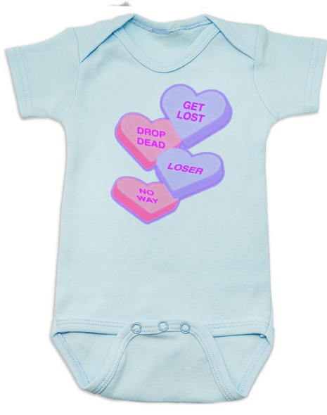 Funny Candy Heart Bodysuit, Valentines Day baby bodysuit, Valentine's Day hearts, Baby valentine creeper, Offensive candy heart baby onsie, blue