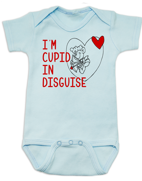 Cupid in disguise Bodysuit, valentines day baby Bodysuit, Cupid baby bodysuit, Funny Valentine's Day onsie, blue