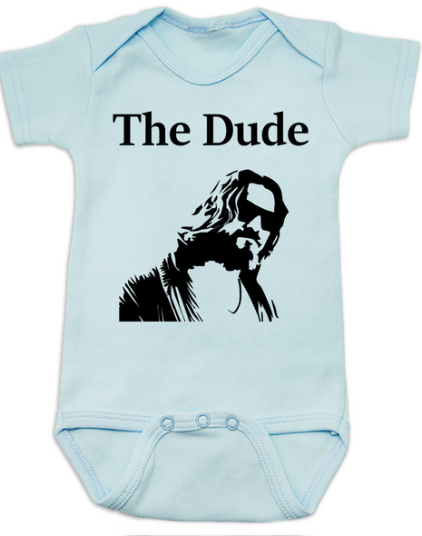 The Dude Baby Bodysuit, The Big Lebowski Movie onsie, blue