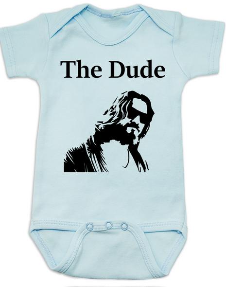 The Dude Baby Bodysuit, The Big Lebowski Movie onsie, blue