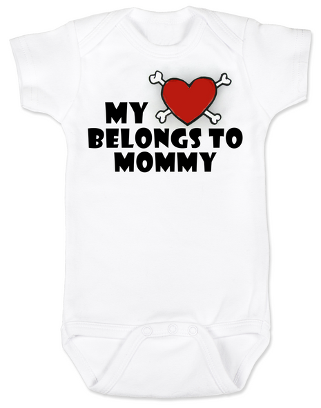 My heart belongs to Mommy Bodysuit, I love my mommy infant bodysuit, My mommy rocks, Badass mom baby onsie, Valentines day baby Bodysuit, Rock n Roll Valentine's, Badass Baby Valentine