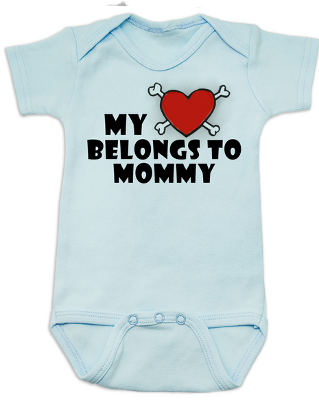 My heart belongs to Mommy Bodysuit, I love my mommy infant bodysuit, My mommy rocks, Badass mom baby onsie, Valentines day baby Bodysuit, Rock n Roll Valentine's, Badass Baby Valentine, blue