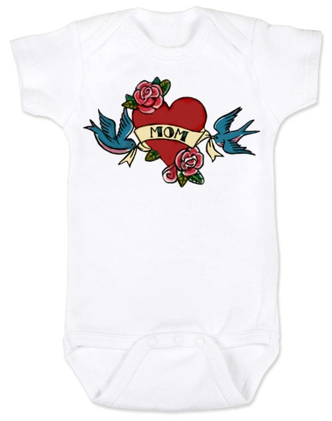 Mom Tattoo Bodysuit, Rock-a-Billy Baby, I love my mommy bodysuit, My mommy rocks, Badass mom, Valentines day baby onsie, Valentine's Baby, Rock n Roll baby tattoo, Mother's day baby Bodysuit, white