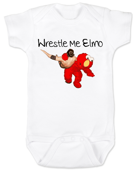 Wrestle Me Elmo baby Bodysuit, Elmo wrestling, Funny Sesame Street