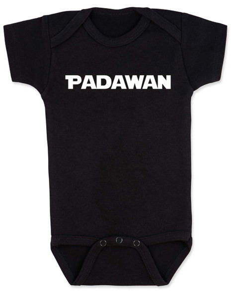 Star Wars padawan baby Bodysuit, jedi baby bodysuit, the force is strong with this one, Young Jedi, nerdy infant onsie, black