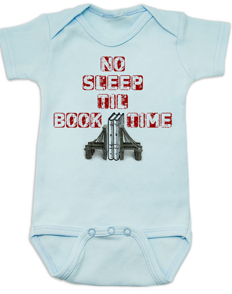 No Sleep Til Book Time, baby bedtime story, bookish baby, rock n roll music, no sleep til brooklyn baby Bodysuit, hip hop, Beastie Boys infant bodysuit