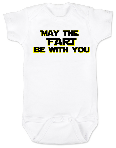 may the fart be with you baby Bodysuit, geeky star wars baby, May the force be with you infant bodysuit, the force is strong with this one, padawan, young jedi baby, Star Wars onsie