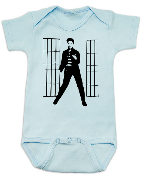 Elvis Presley jailhouse rock, Jailhouse Rock Baby Bodysuit, elvis baby bodysuit, classic rock and roll baby Bodysuit, Elvis dancing baby onsie, blue
