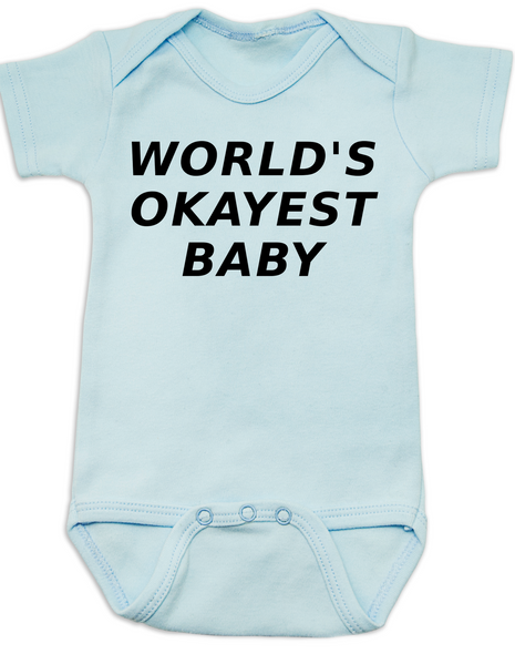 World's Okayest Baby Bodysuit, Blue