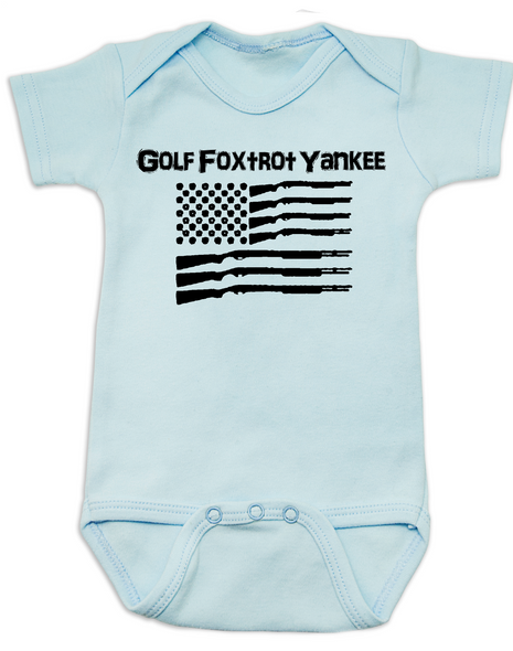 Golf Foxtrot Yankee, Military baby Bodysuit, Go Fuck Yourself, American Flag onsie, blue