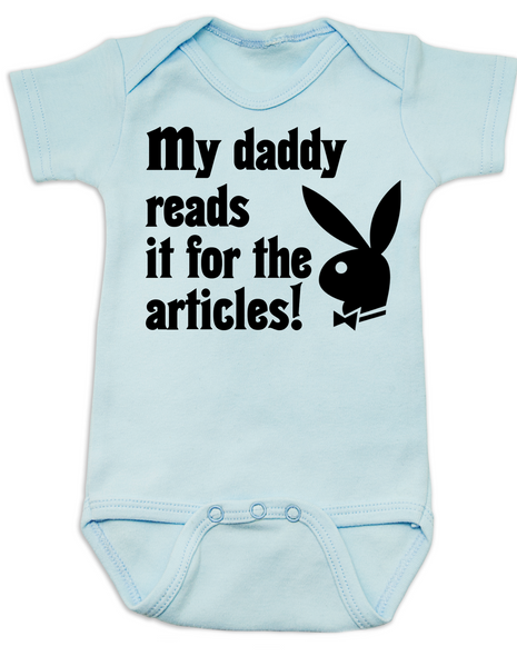 Playboy baby Bodysuit, Playboy bunny infant bodysuit, Playboy baby onsie, My Daddy Reads playboy for the articles, I read it for the articles, Funny playboy magazine baby gift, blue