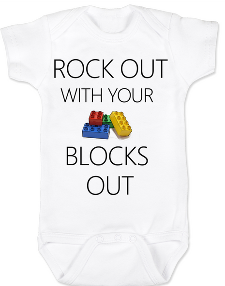 Rock out with your blocks out baby Bodysuit, rock and roll, rock with daddy