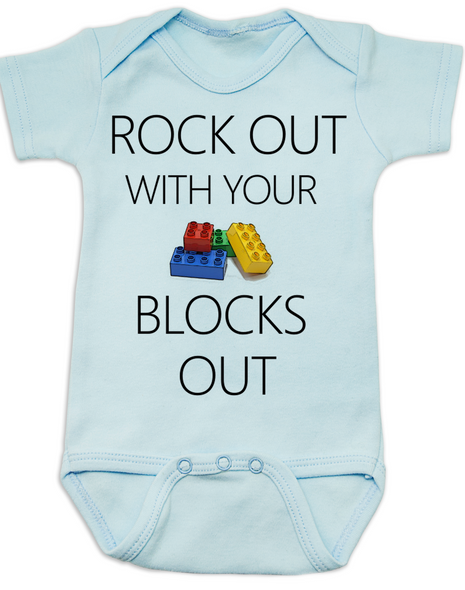 Rock out with your blocks out baby Bodysuit, rock and roll, rock with daddy, blue