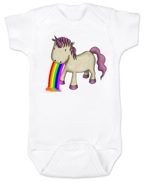 Unicorn Rainbow Vomit Baby Bodysuit, white