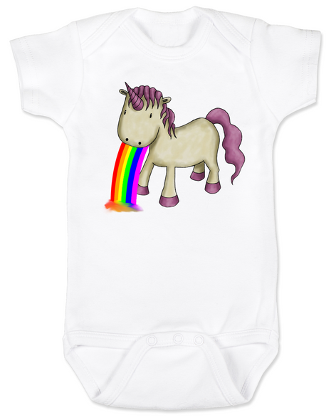 Unicorn Rainbow Vomit Baby Bodysuit, white