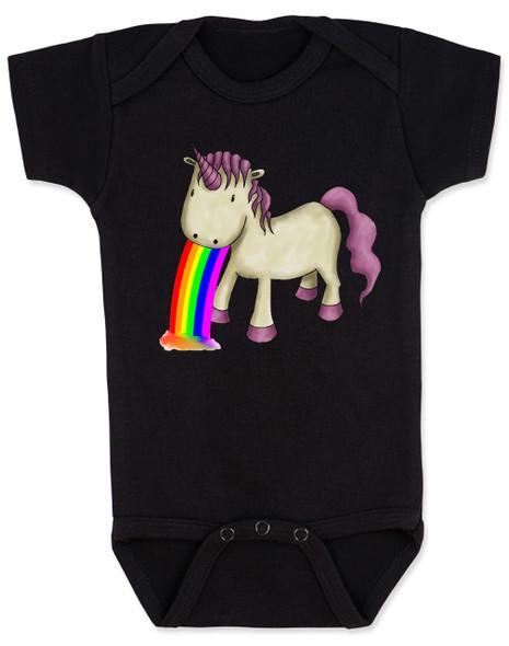 Unicorn Rainbow Vomit Baby Bodysuit, black