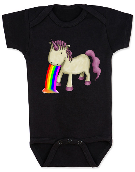 Unicorn Rainbow Vomit Baby Bodysuit, black
