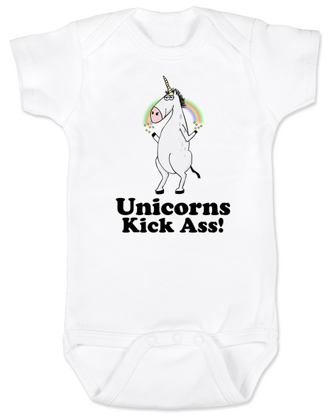 Unicorns Kick Ass Baby Bodysuit