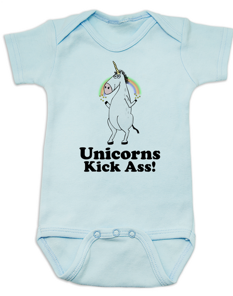 Unicorns Kick Ass Baby Bodysuit, blue
