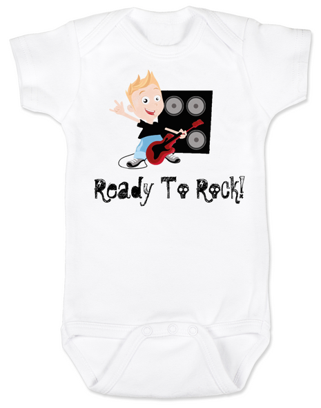 Ready to Rock baby Bodysuit, future musician, rock and roll onsie