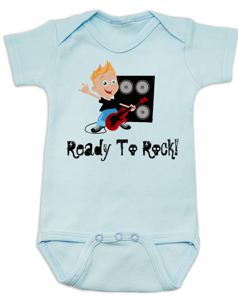 Ready to Rock baby Bodysuit, future musician, rock and roll onsie, blue