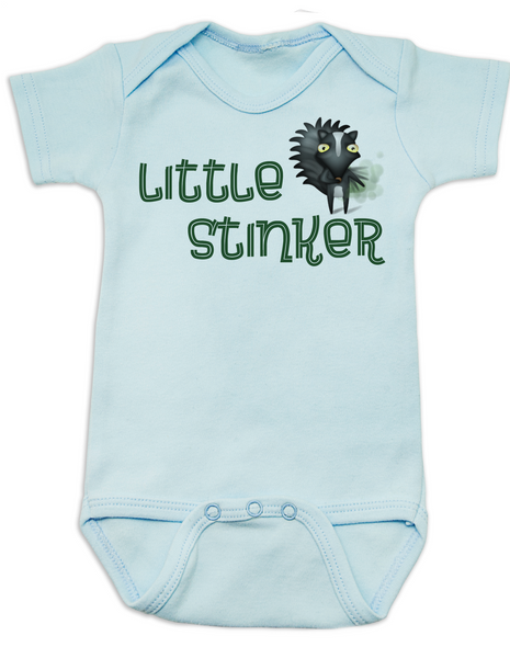 Little Stinker Baby Bodysuit, Stinky baby onsie, skunk, Blue