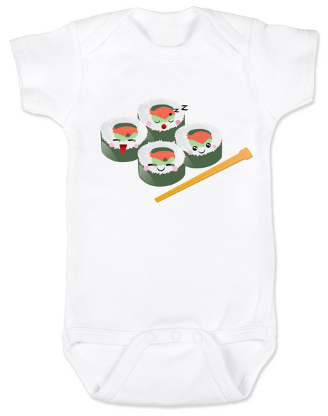Sushi baby Bodysuit, chop sticks, California roll onsie