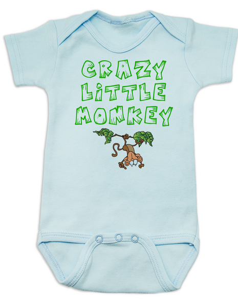 Crazy Little Monkey Baby Bodysuit, Silly monkey, blue