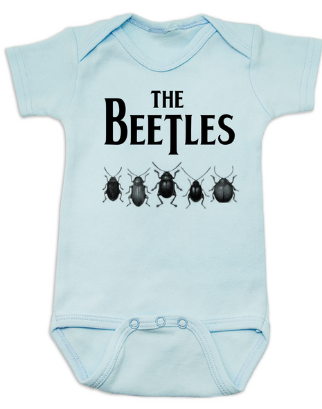 The Beetles Baby Bodysuit, The Beatles Band, classic rock n roll, blue