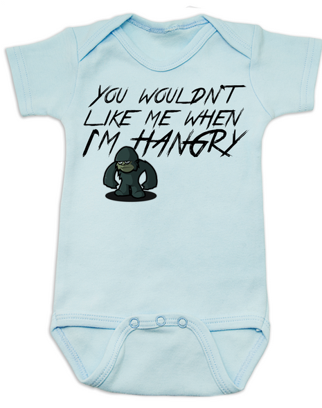 Hangry Baby Bodysuit, You wouldn't like me when I'm hangry onsie, Hungry baby, feed me now, blue